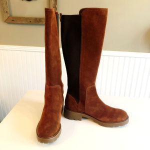 New Tory Burch Knee High Rubber Sole Suede Boots
